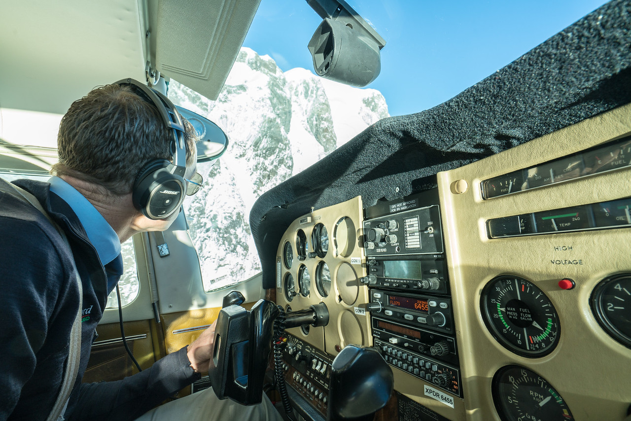 Approaching Mount Tutoku, our pilot is not shy about getting close!