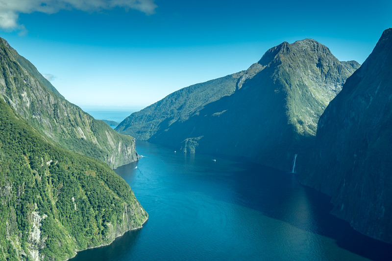 Climbing out of Milford Sound. We take a different route back to see different scenery.