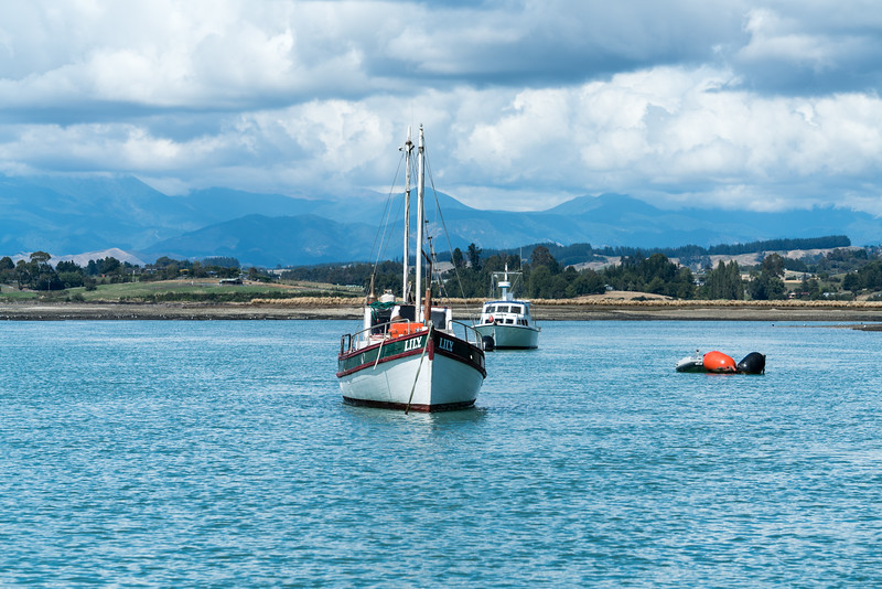 Boats at anchor from Mapua Wharf.