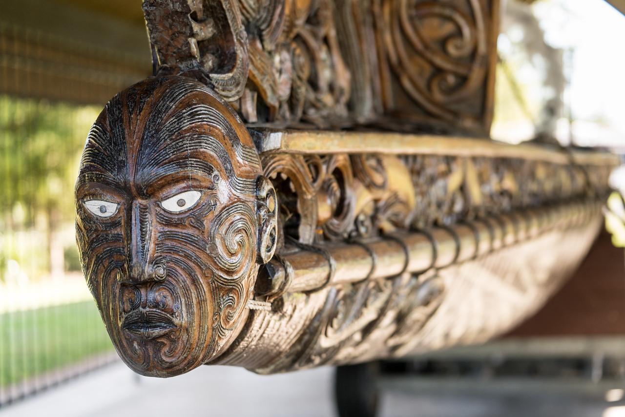 A figurehead on Te Arawa Waka Taua.