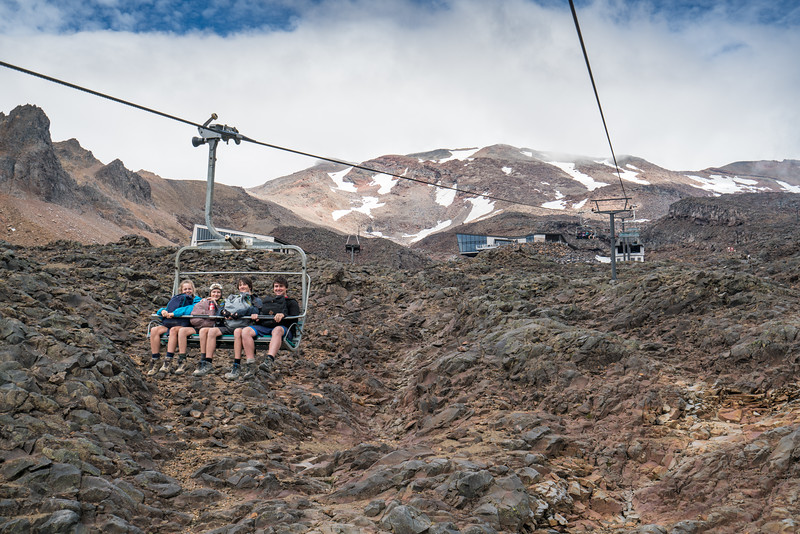 Riding the lifts at the Whakapapa Ski Area.
