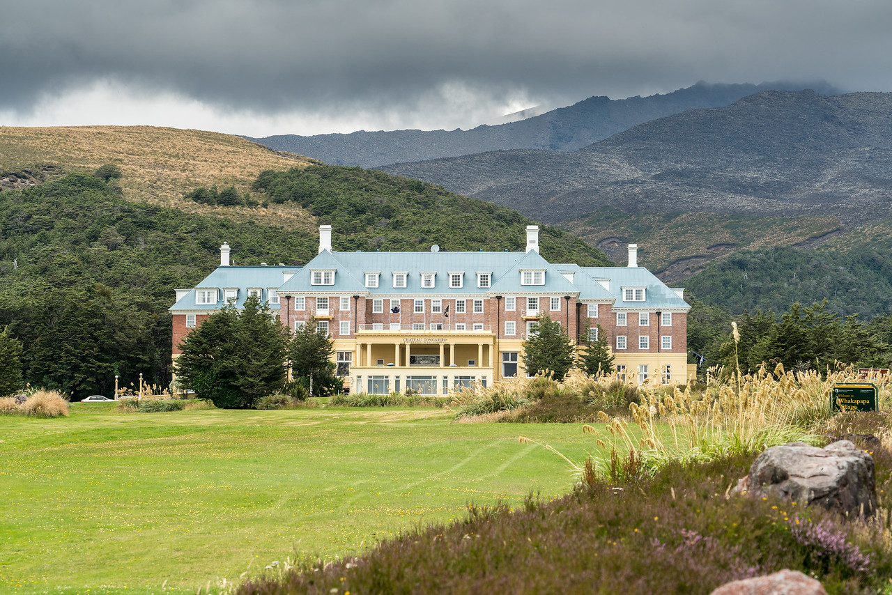 Chateau Tongariro Hotel with Mount Ruapehu in the background.