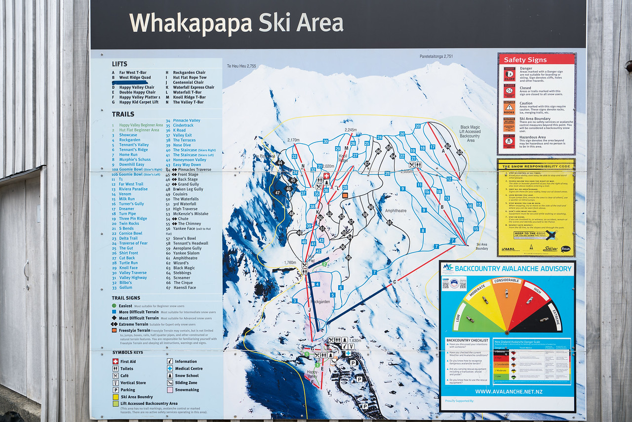 Ski map of the Whakapapa Ski Area.