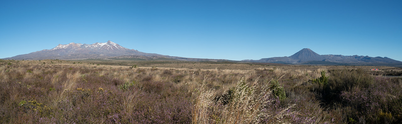 Panorama from the Desert Road, Mount Ruapehu on the left and Mount Ngauruhoe on the right.