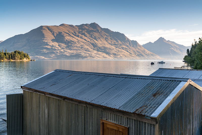 Boathouses along the waterfront of the Frankton Arm.