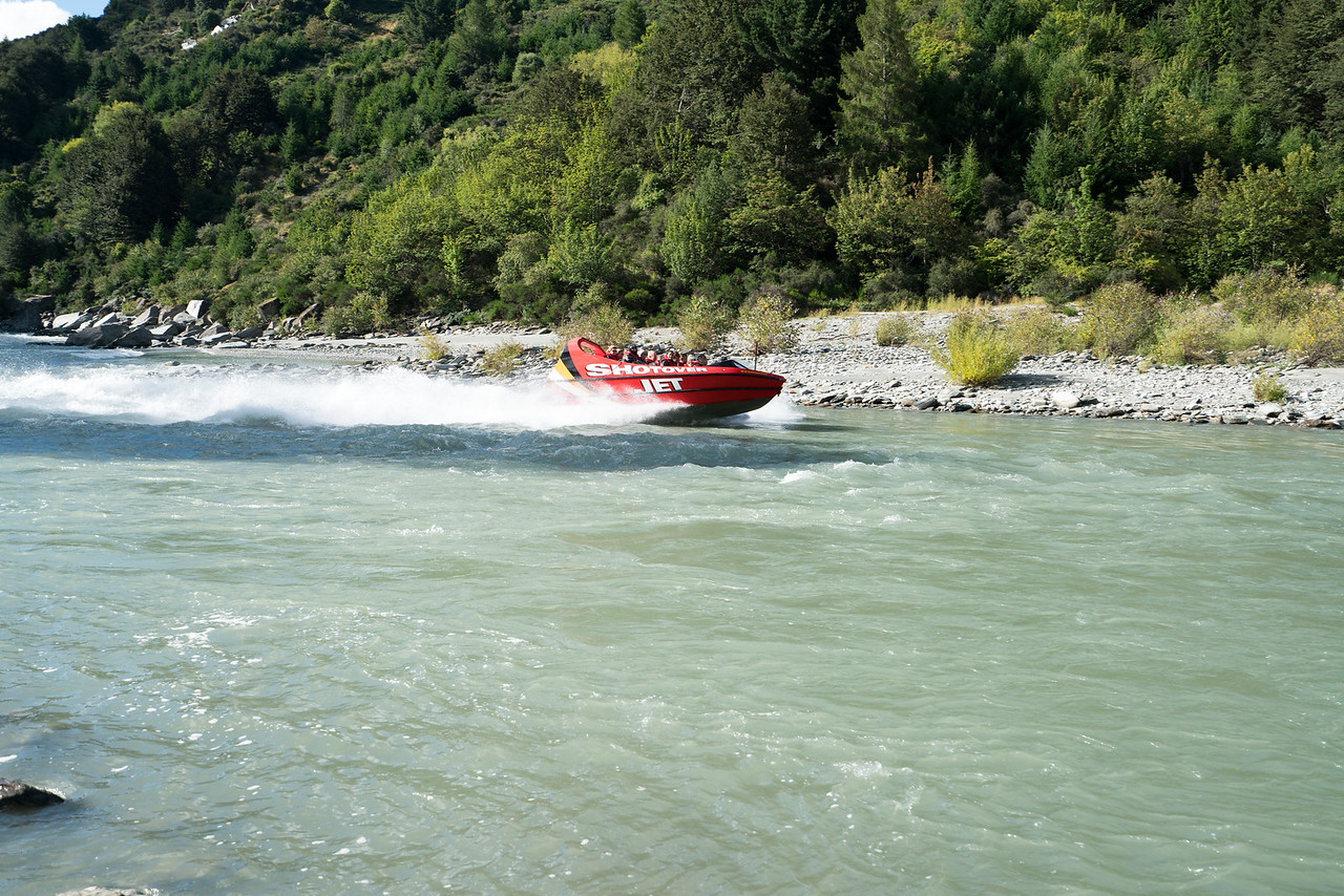 The famous (in New Zealand) Shotover Jet gives some tourists a thrill.
