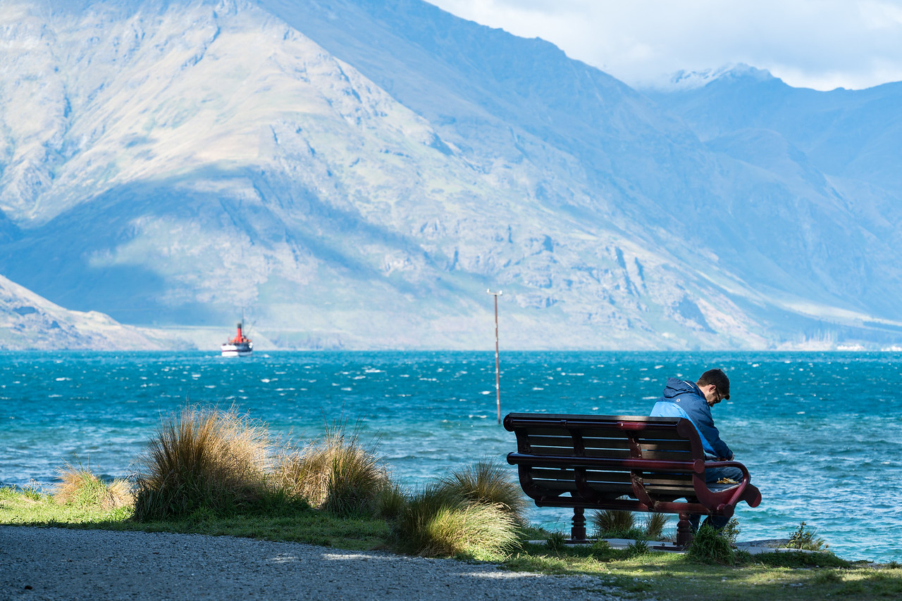 Enjoying the view of the lake from the tip of Queenstown Gardens.