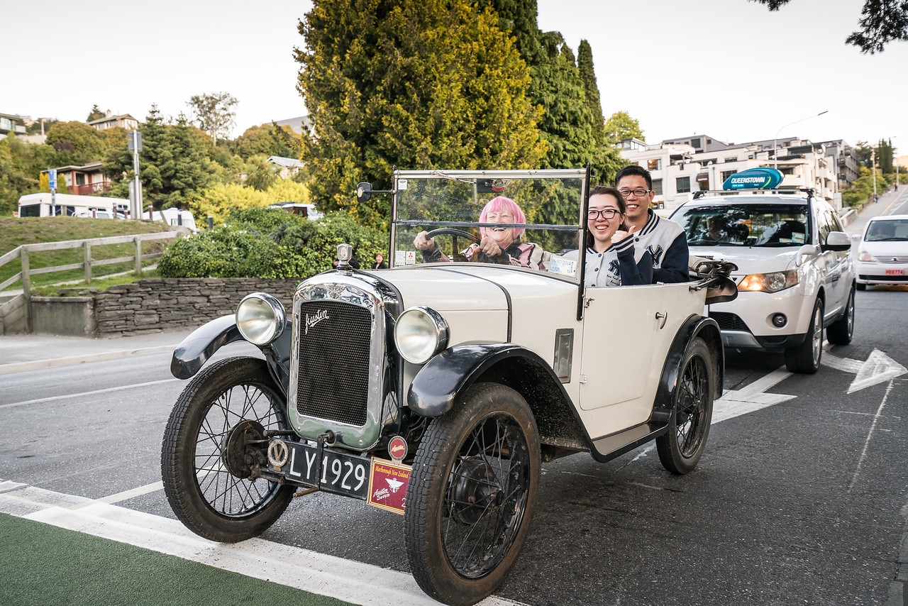An old Austin takes folks for a ride around Queestown.