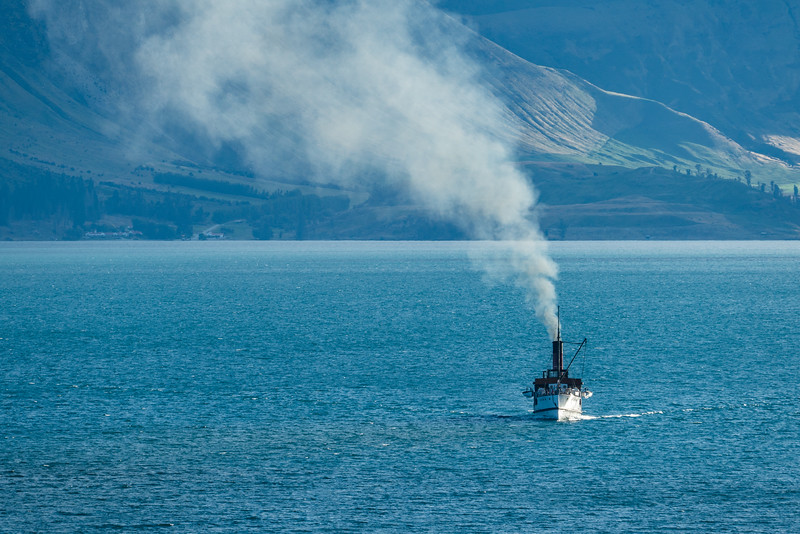 The Earnslaw steaming back to Queenstown after a cruise on Lake Wakatipu.