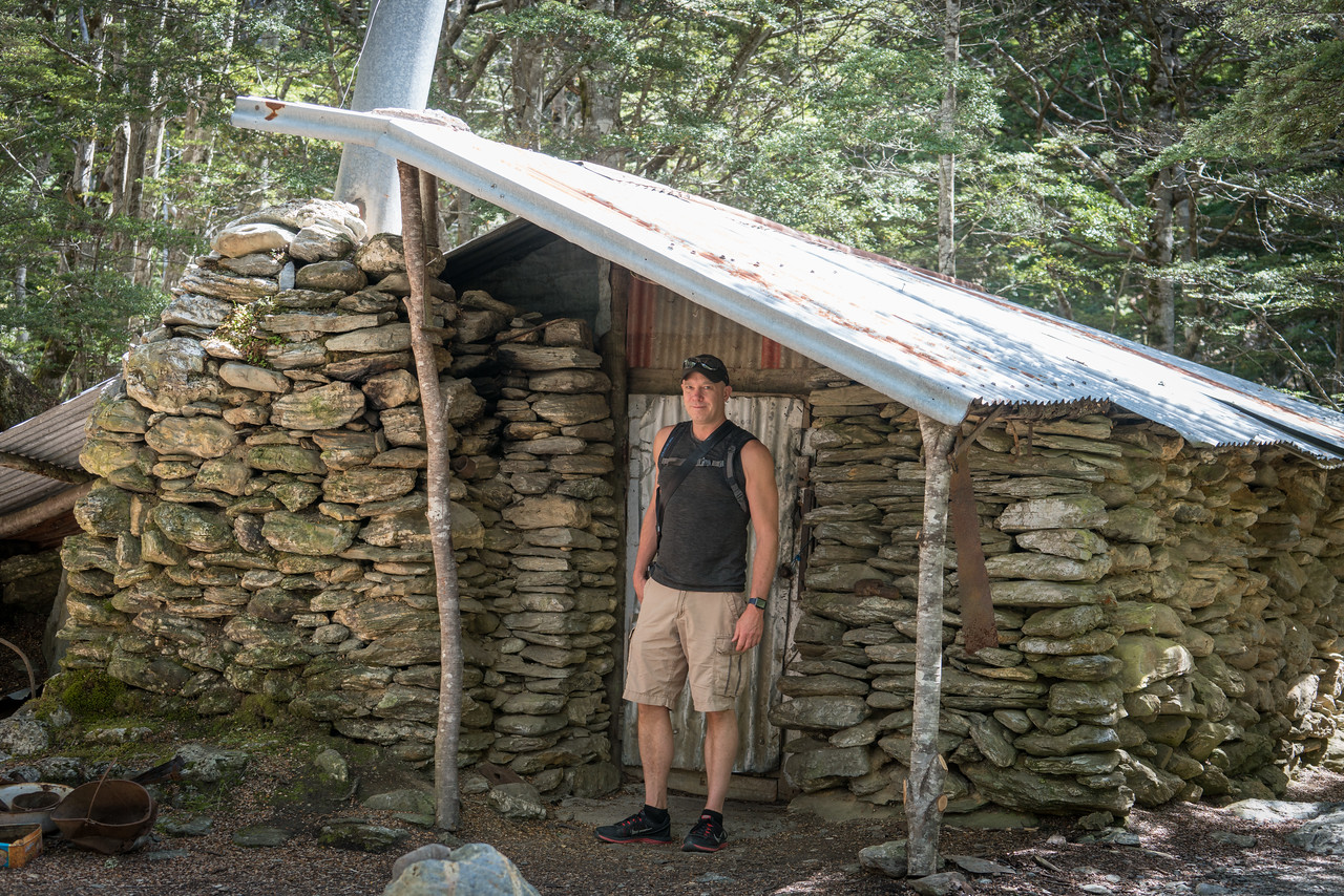 Tim in front of the Brooks Family homestead. Actually, it's Sam Summers' Hut, circa 1930. He was a gold miner.