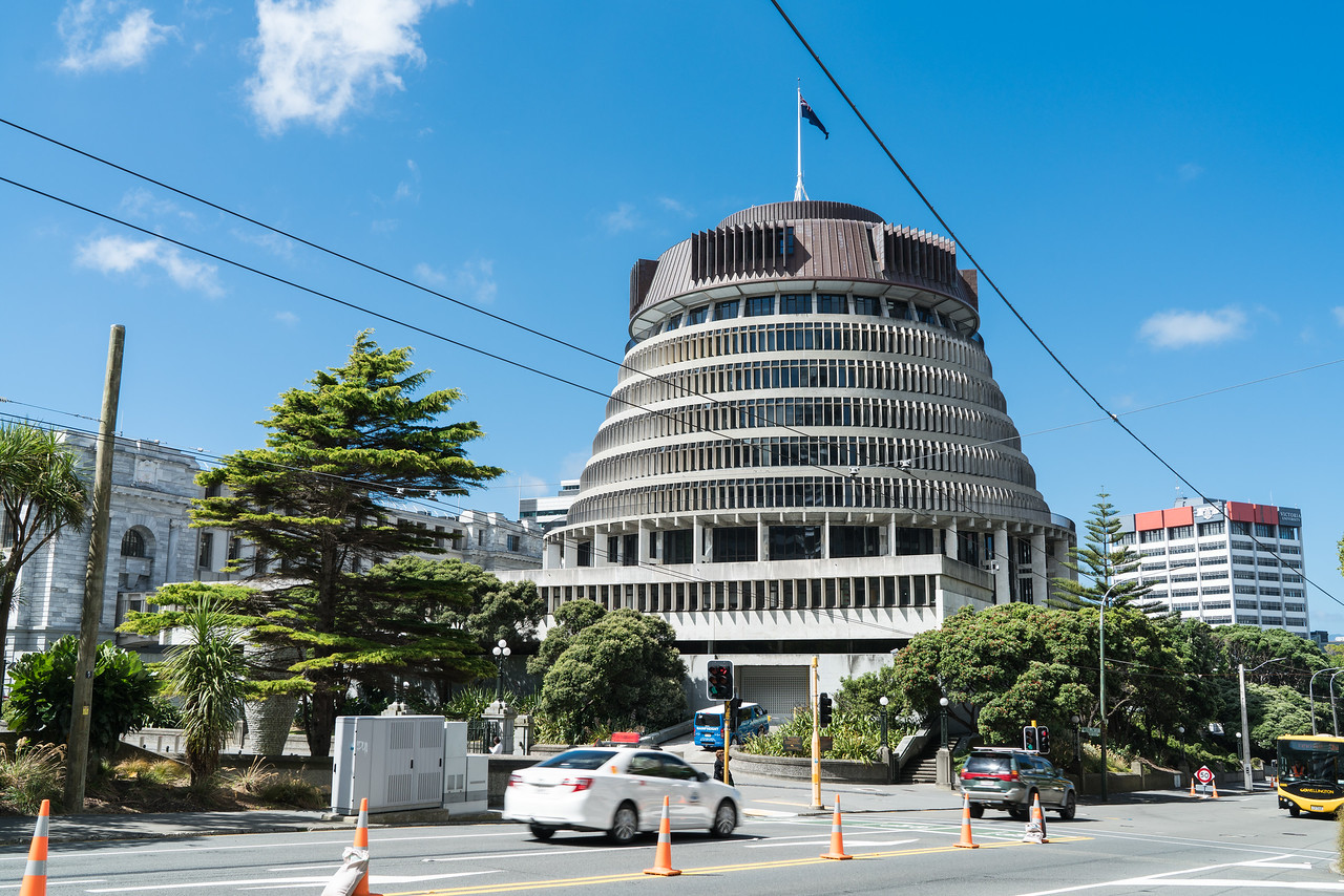 The Beehive is the common name for the Executive Wing of the New Zealand Parliament Buildings, located at the corner of Molesworth Street and Lambton Quay, Wellington.