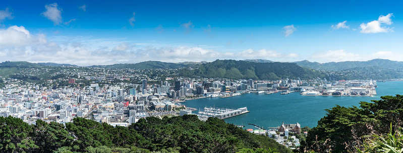 A panoramic view of Wellington from Mount Victoria Lookout.