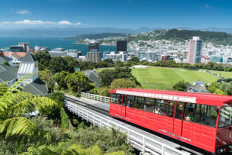 The Wellington Cable Car leaving the Kelburn station.