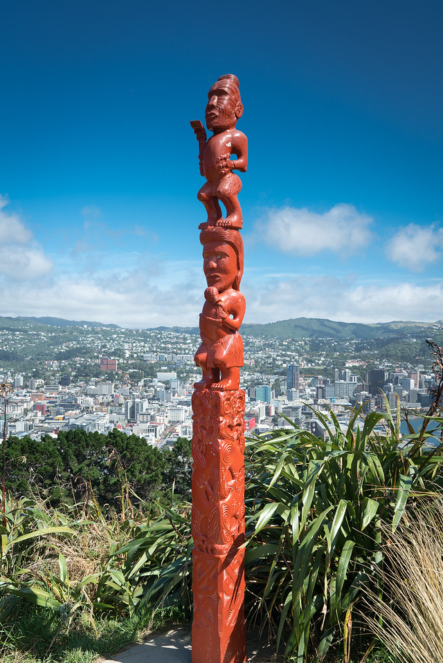 A Maori Totem with Wellington in the background.