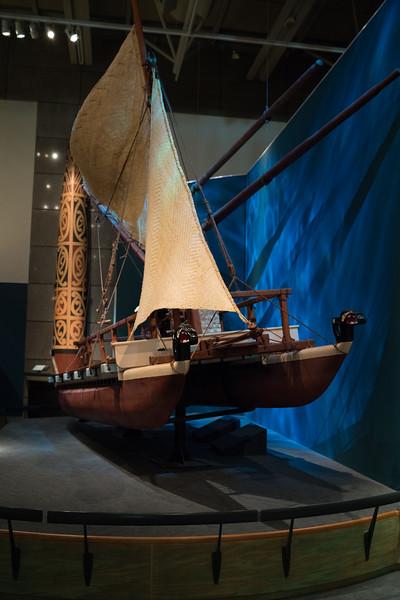 A 1/3 scale model of Teremoe, a war canoe.