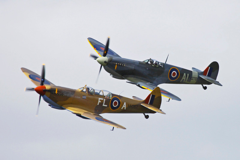 "ZK-WDQ (MH367/FL-A) Supermarine Spitfire Tr.IXe ""Royal Air Force"" c/n CBAF.5487 Wanaka/NZWF/WKA 08-04-12 (in formation with ZK-SPI)"