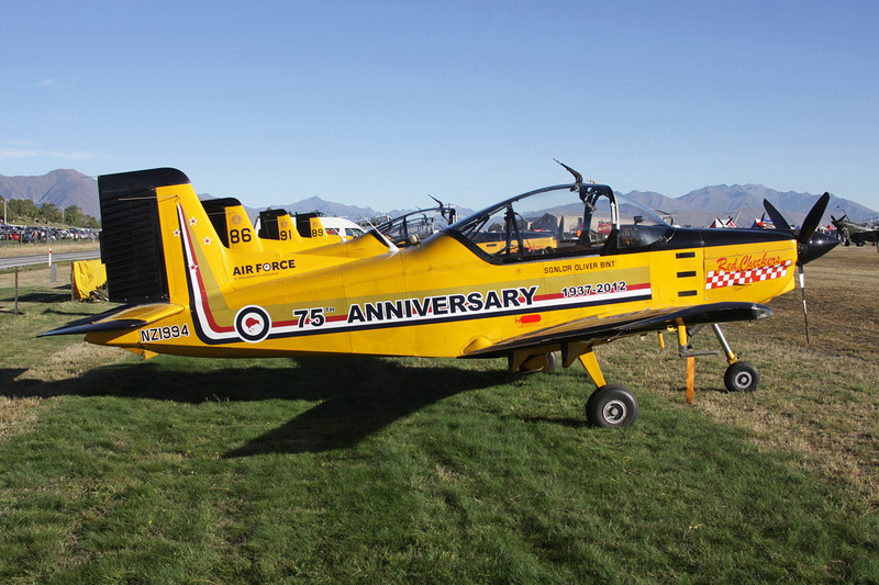 "NZ1994 Pacific Aerospace CT/4E Airtrainer ""Royal New Zealand Air Force"" c/n 209 Wanaka/NZWF/WKA 07-04-12 ""Red Checkers, RNZAF 75th Anniversary"""