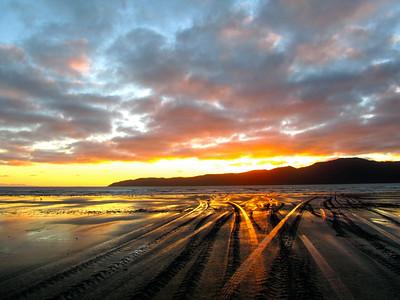 Sunset at Paraparaumu Beach in New Zealand