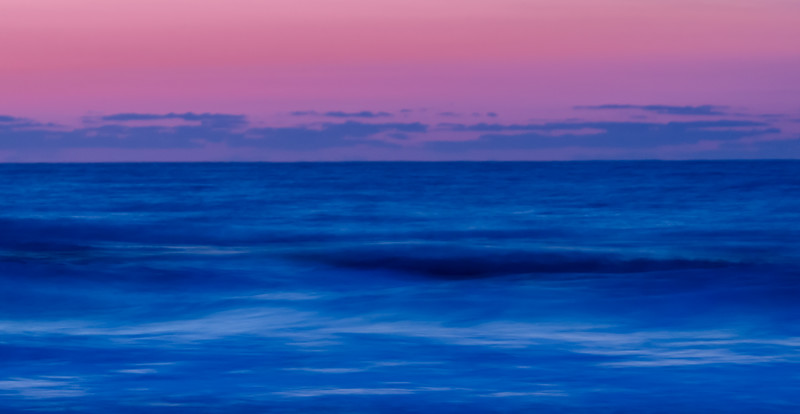 A long exposure at sunrise gives this ocean scene a very different feeling.