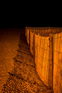 Beach Fence at Night