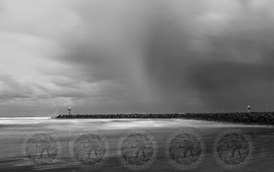 Storm over the Jetty B&W