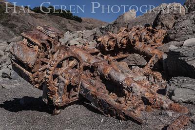 The Wreck of a 1920's era Power Shovel Goat Rock Beach, Bodega Bay, California 1207BB-PSW2