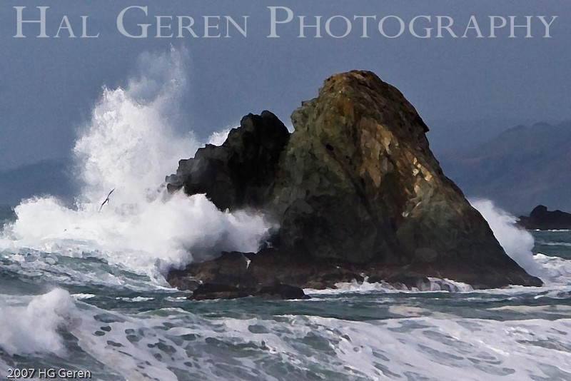 Waves on the Rocks <br /> Bodega Bay, California<br /> 0801BB-WOR4