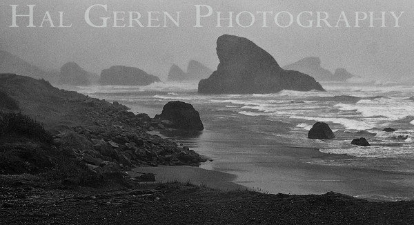 Sea Stacks on a Stormy Day Southern Oregon Coastline 1112NC-SS2BW1