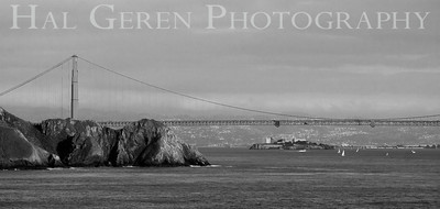 Golden Gate Bridge with Alcatraz in the Background San Francisco, California 1001S-AAGG1BW