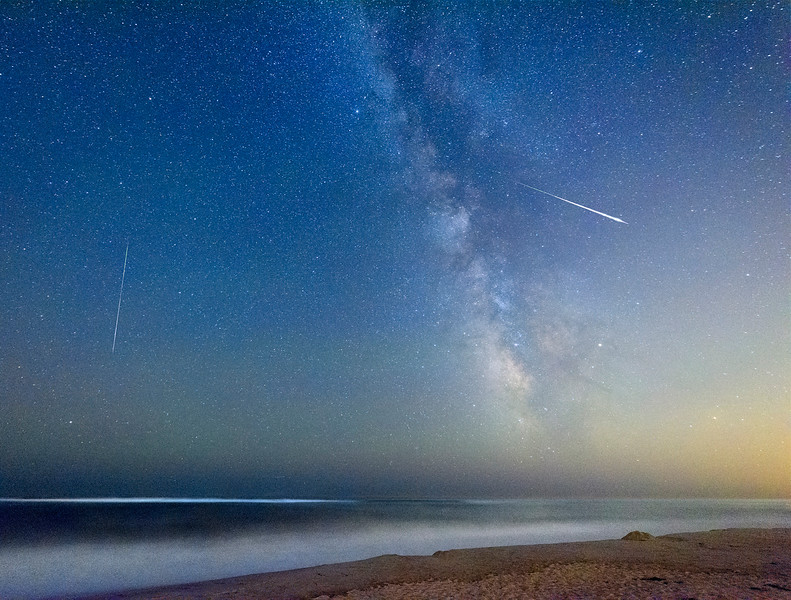 Milky Way and Shooting Stars Over Flying Pt. Beach