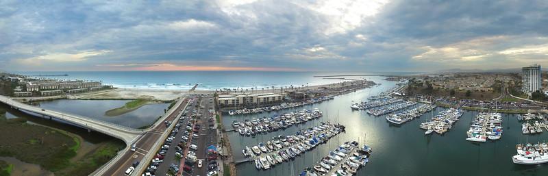 Oceanside Harbor Panoramic at sunset #2