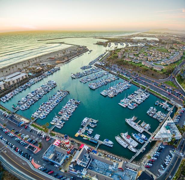 Aerial Sunset of Oceanside Harbor. Vertical Panoramic