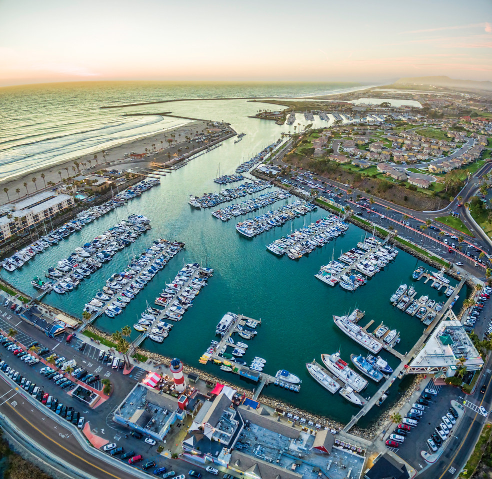 Aerial Sunset of Oceanside Harbor. Vertical Panoramic