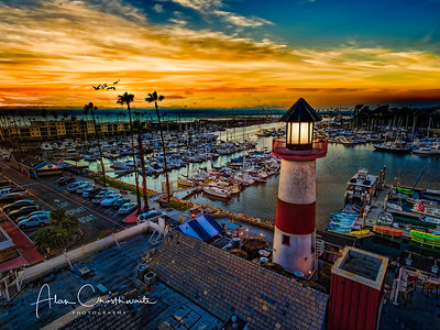 The little lighthouse in Oceanside at sunset