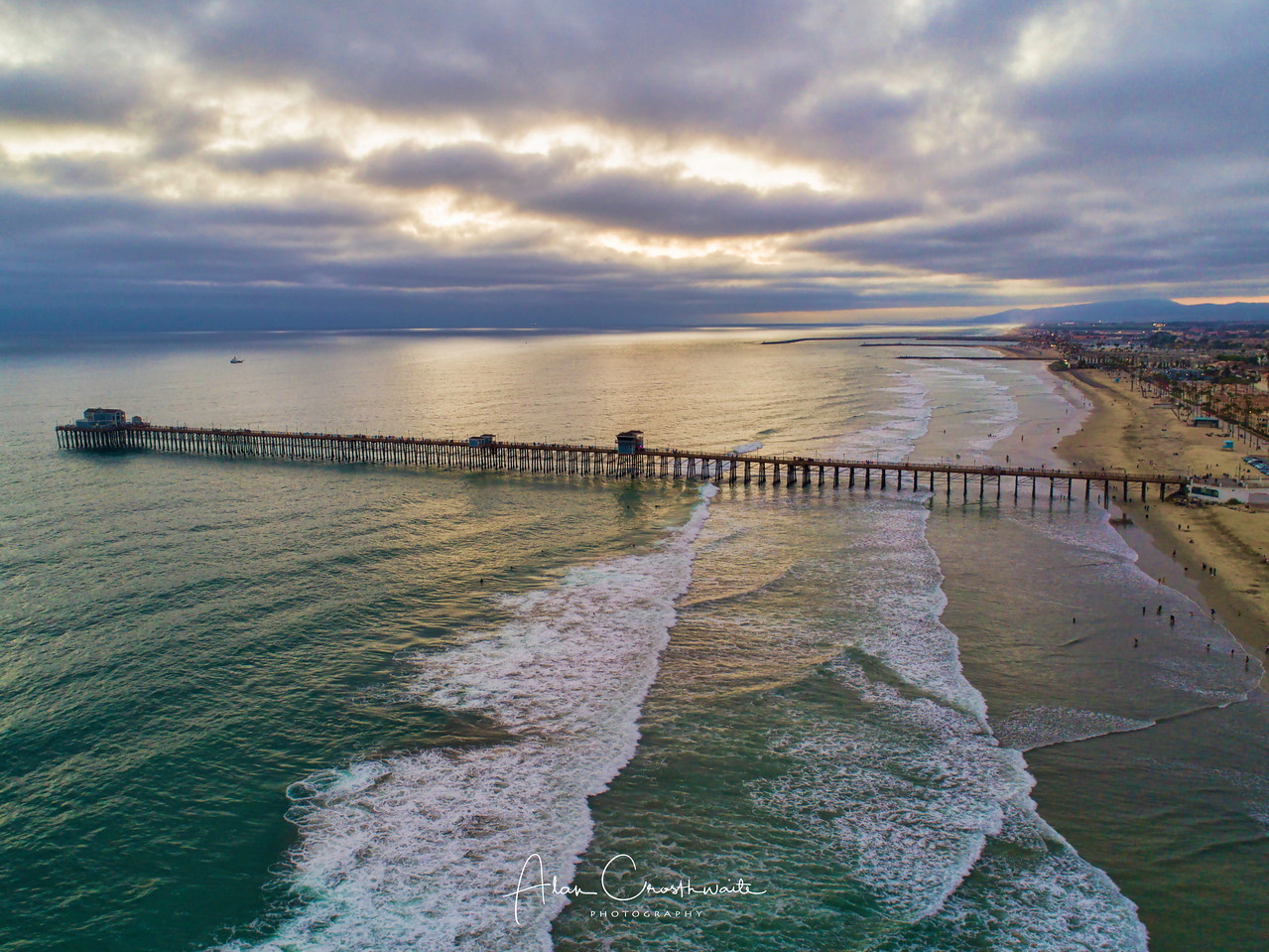 Dusk aerial at the pier