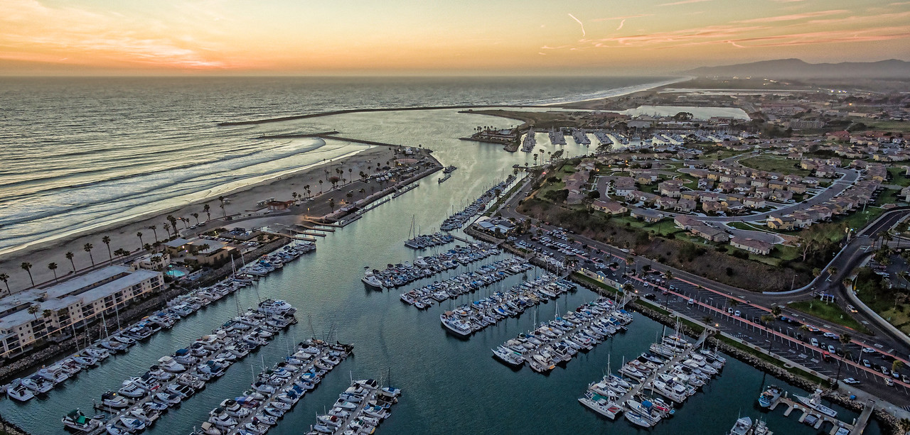 Aerial sunset of Oceanside Harbor