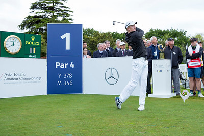 James Anstiss from New Zealand hitting off the 1st tee on Day 1 of competition in the Asia-Pacific Amateur Championship tournament 2017 held at Royal Wellington Golf Club, in Heretaunga, Upper Hutt, New Zealand from 26 - 29 October 2017. Copyright John Mathews 2017.   www.megasportmedia.co.nz