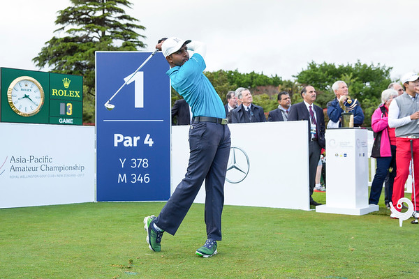 Rhaasrikanesh Kanavathi from Malaysia hitting off the 1st tee on Day 1 of competition in the Asia-Pacific Amateur Championship tournament 2017 held at Royal Wellington Golf Club, in Heretaunga, Upper Hutt, New Zealand from 26 - 29 October 2017. Copyright John Mathews 2017.   www.megasportmedia.co.nz