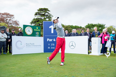 Kim Seong-hyeon from Korea hitting off the 1st tee on Day 1 of competition in the Asia-Pacific Amateur Championship tournament 2017 held at Royal Wellington Golf Club, in Heretaunga, Upper Hutt, New Zealand from 26 - 29 October 2017. Copyright John Mathews 2017.   www.megasportmedia.co.nz