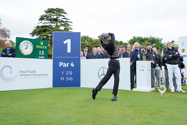 Yuvraj Sandhu from India hitting off the 1st tee on Day 1 of competition in the Asia-Pacific Amateur Championship tournament 2017 held at Royal Wellington Golf Club, in Heretaunga, Upper Hutt, New Zealand from 26 - 29 October 2017. Copyright John Mathews 2017.   www.megasportmedia.co.nz