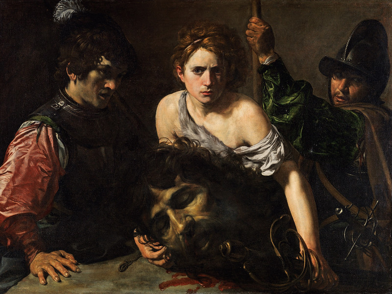Valentin, Jean, called Valentin de Boulogne (1594-1632): David With the Head of Goliath and Two Soldiers, c.1620-1622. Madrid, Museo Thyssen-Bornemisza*** Permission for usage must be provided in writing from Scala.