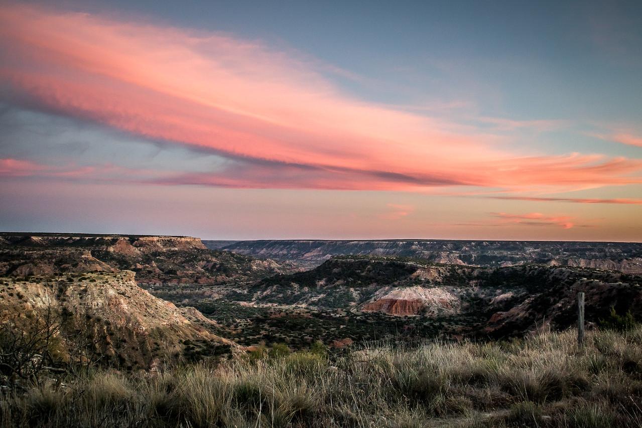 Sunset Curve Over Palo Duro Canyon