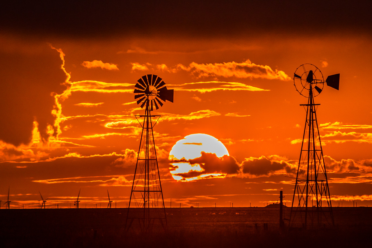 Double Windmill Sunset