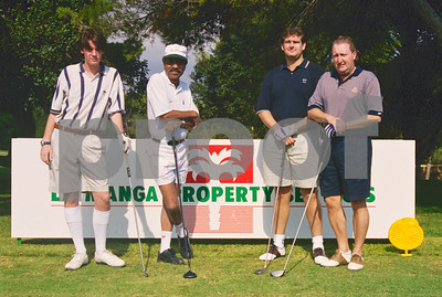 Kenny Lynch, Alan Robinson, Charlie Thompson at the Henry Cooper Classic, La Manga Club 1997