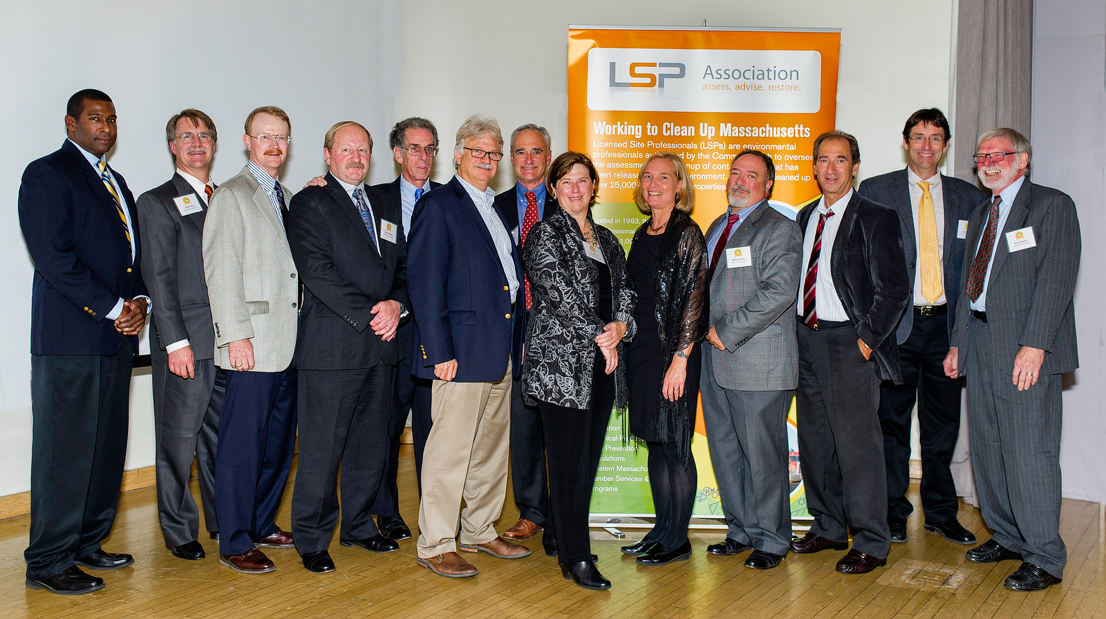 LSPA Past Presidents 2013 (left to right):  Cole Worthy, Andy Irwin, Jim Young, Chuck Myette, Larry Feldman, Elliot Steinberg, T.J. Stevenson, Dot McGlincy, Carol Bois, Bill Betters, Carl Shapiro, Duff Collins, Wes Stimpson