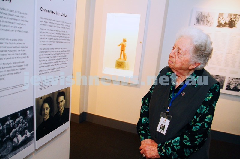 13-10-14. Maria Lewit. Holocaust survivor. Volunteer guide at the Jewish Holocaust Centre in Eslternwick. Stands next photos of herself during the war. Photo: Peter Haskin