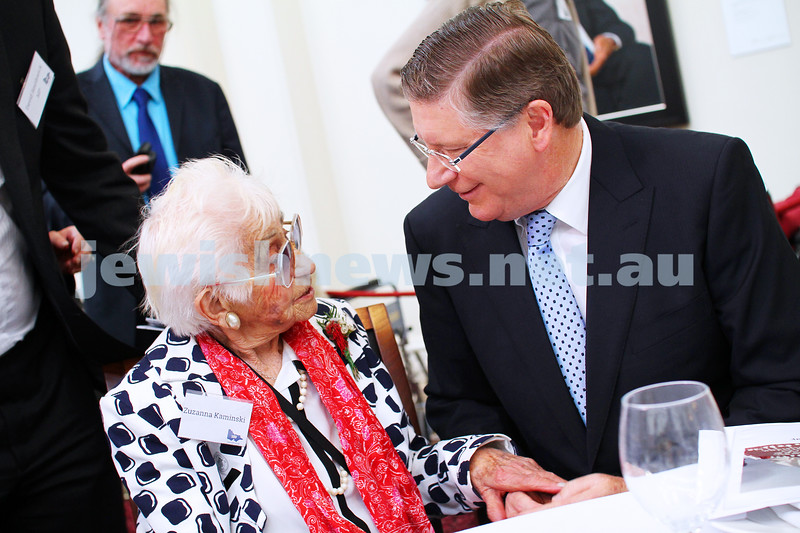 7-10-14. Victorian Government Parliament House. Century Club afternoon tea at Queens Hall. The Victorian Premier Denis Napthine chats with Century Club member Zuzanna Kaminski. Photo: Peter Haskin