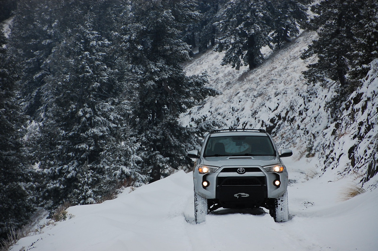 """Just after I took this shot, the snow got deeper... about 9"""" deep, I'd estimate, because after I drove over it I could see three tracks in my rearview - 2 tires and 1 rear differential!"""