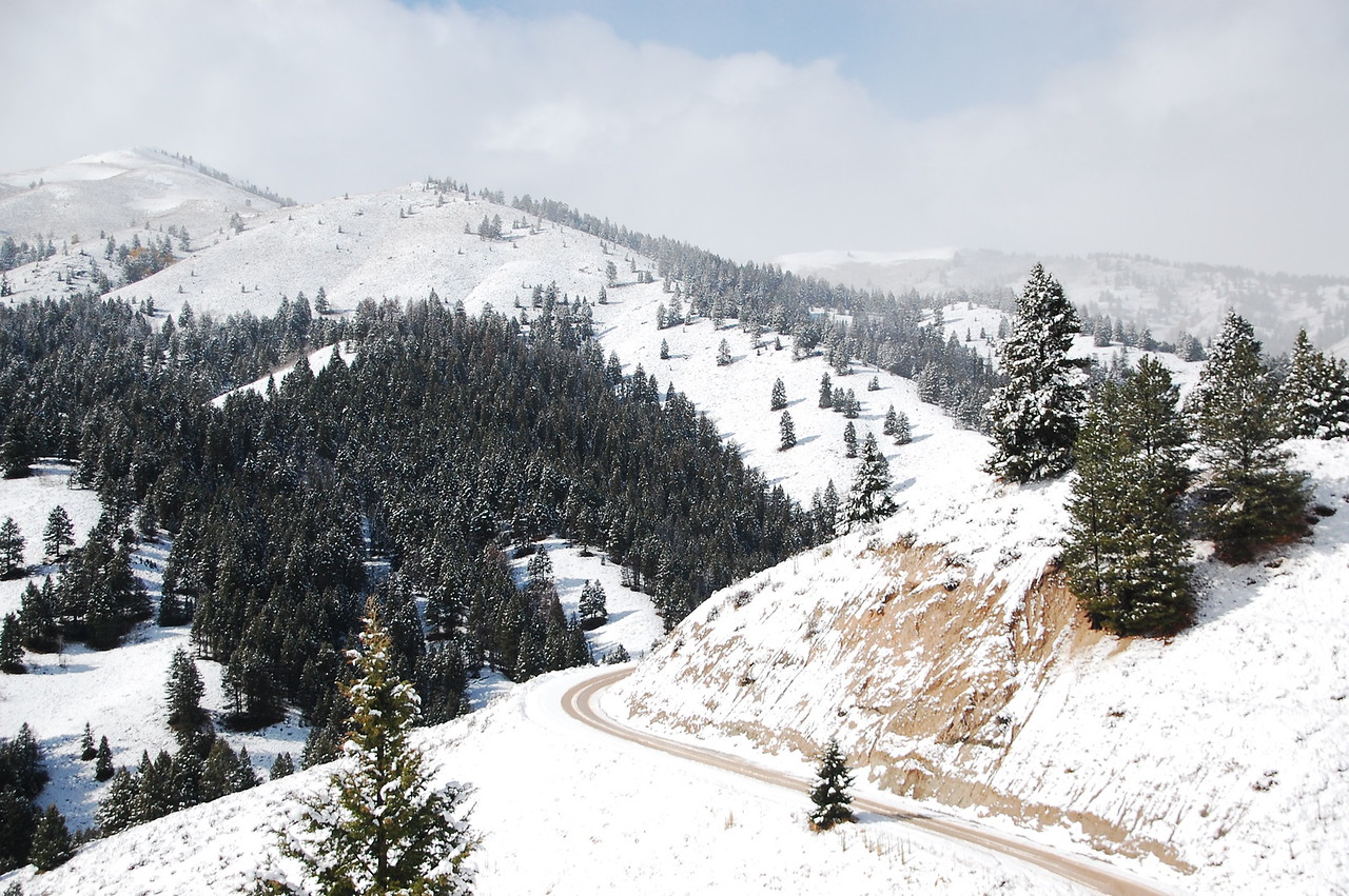 """The road up Soldier Mountain.  It was getting more and more snow covered.  At a certain point it went from """"this is beautiful"""" to """"OH FUCK!!!""""."""
