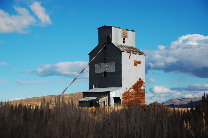 Abandoned grain elevator near Hill City, ID